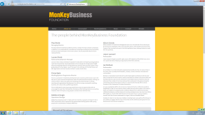 Figure 8. About Us page on The Monkey Business Foundation Limited website at 14 June 2016